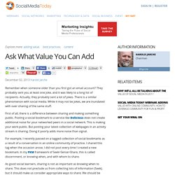 Ask What Value You Can Add