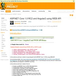 ASP.NET Core 1.0 RC2 and Angular2 using WEB API