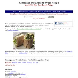 Asparagus and Avocado Wrap Recipe, Wrap Recipes, Vegetable Wrap Recipes, Appetizer Recipes, Asparagus Recipes, Avocado Recipes, Low Fat Recipes, Low Calorie Recipes, Diet Recipes
