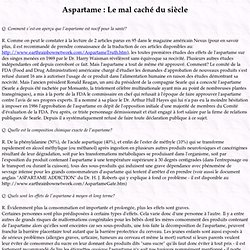 Aspartame : Le mal caché du siècle