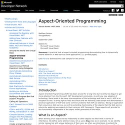 Aspect-Oriented Programming - A Microsoft Guide