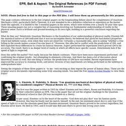 EPR, Bell & Aspect: The Original References