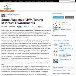 Some Aspects of JVM Tuning in Virtual Environments