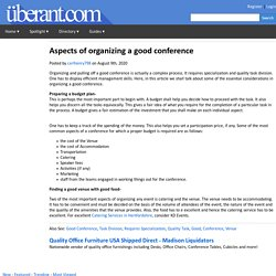 Aspects of organizing a good conference