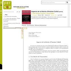 Aspects de la théorie d'Antoine Culioli