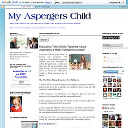 My Aspergers Child: Teaching Aspergers Children: Tips For Teachers