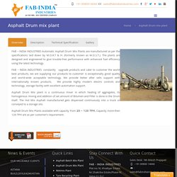 FABIndia Industries - Industries Best Asphalt Drum Mix Plant Supplier