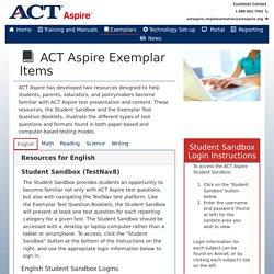 ACT Aspire Landing Page - Exemplars