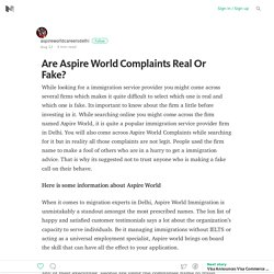 Aspire World Complaints