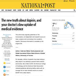 The new truth about Aspirin, and your doctor's slow uptake of medical evidence