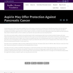Aspirin- Protection Against Pancreatic Cancer