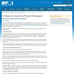 5 Steps for Aspiring Project Managers |PMI Career Central