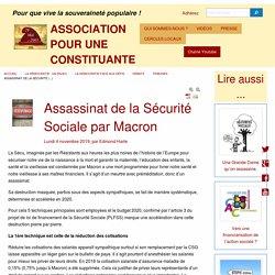 Assassinat de la Sécurité Sociale par Macron