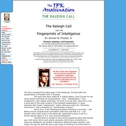 JFK Assassination: The Raleigh Call and the Fingerprints of Intelligence