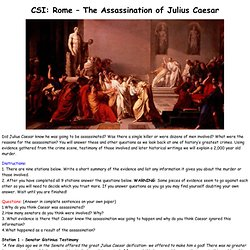 CSI: Rome – The Assassination of Julius Caesar