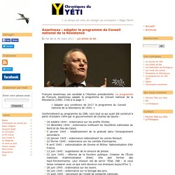 Asselineau : adapter le programme du Conseil national de la Résistance