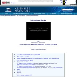 """Assemblée nationale - Grands débats - Loi """"Informatique et libertés"""""""