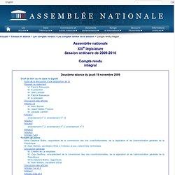 Deuxième séance du jeudi 19 novembre 2009