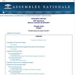 Première séance du mASSEMBLEE NATIONALE 03/05/11 Interdiction de l'utilisation des phtalateardi 3 mai 2011