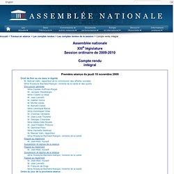 Première séance du jeudi 19 novembre 2009
