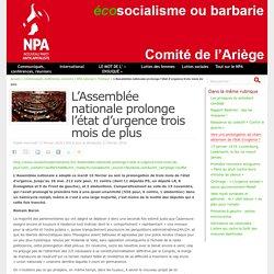 L'Assemblée nationale prolonge l'état d'urgence trois mois de plus