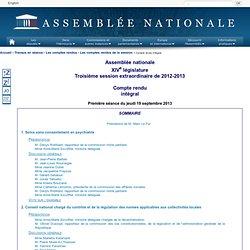 ASSEMBLEE NATIONALE 19/09/13 Compte rendu - Conseil national chargé du contrôle et de la régulation des normes applicables aux c