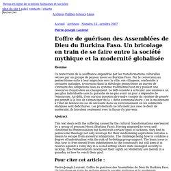 L'offre de gu�rison des Assembl�es de Dieu du Burkina Faso. Un bricolage en train de se faire entre la soci�t� mythique et la modernit� globalis�e