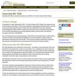 Assembly Bill 1836 - Deaf & Hard of Hearing