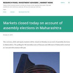 Markets closed today on account of assembly elections in Maharashtra