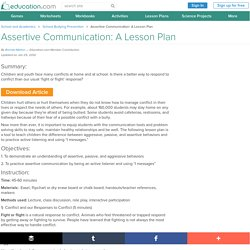 Assertive Communication: A Lesson Plan