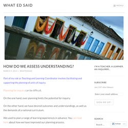 How do we assess understanding? – What Ed Said