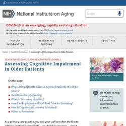 Assessing Cognitive Impairment in Older Patients