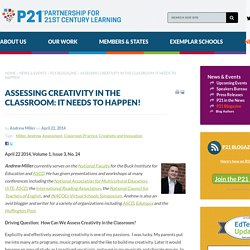 Assessing Creativity in the Classroom: It Needs to Happen!