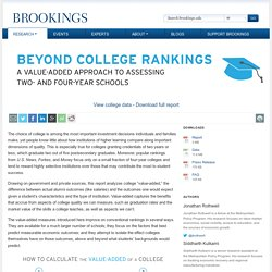 Beyond college rankings: A value-added approach to assessing two- and four-year schools