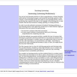 Assessing Listening Proficiency