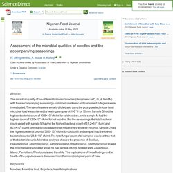 Nigerian Food Journal Available online 23 May 2015 Assessment of the microbial qualities of noodles and the accompanying seasonings