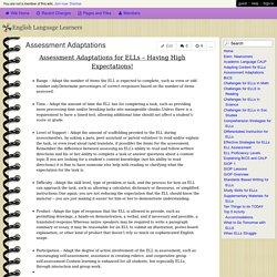 English Language Learners - Assessment Adaptations