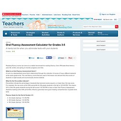 Oral Fluency Assessment Calculator for Grades 3-5