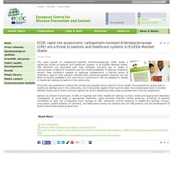 ECDC 14/04/16 ECDC rapid risk assessment: carbapenem-resistant Enterobacteriaceae (CRE) are a threat to patients and healthcare systems in EU/EEA Member States