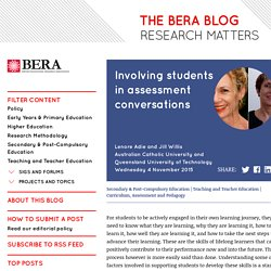 READING - Involving students in assessment conversations