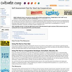 Self Assessment Tool for Start Up Cooperatives - Cultivate.Coop