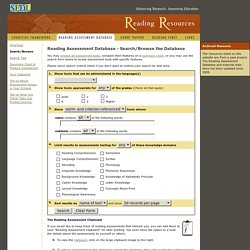 Reading Assessment Database: Search - SEDL Reading Resources