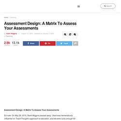 Assessment Design: A Matrix To Assess Your Assessments