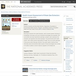 Health Impact Assessment of Shale Gas Extraction: Workshop Summary