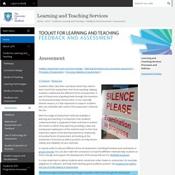 Assessment - Feedback and Assessment - Toolkit for Learning and Teaching - LeTS