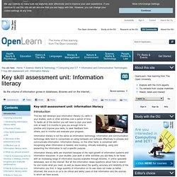 Key skill assessment unit: information literacy - Open University