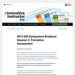 2013 GSI Symposium Breakout Session 2: Formative Assessment