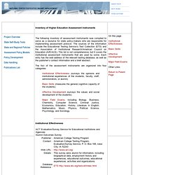 NCPI Assessment Toolkit: Inventory of Instruments