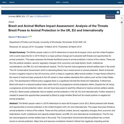ANIMALS 29/03/19 Brexit and Animal Welfare Impact Assessment: Analysis of the Threats Brexit Poses to Animal Protection in the UK, EU and Internationally