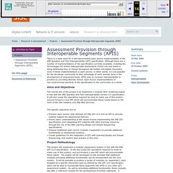 [ARCHIVED] Assessment Provision through Interoperable Segments (APIS) : Jisc